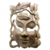 NOVICA 480530cm Quirky Wood Mask, Beige