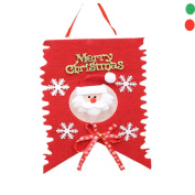 Sixcup 1pc Christmas Decoration Home Bunting Banner Garland Props Santa Flag 30cm x 20cm