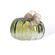Glitzhome 12cm Handblown Green Crackle Glass Pumpkin Table Accent For Fall & Harvest, Thanksgiving Decorating