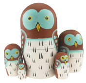 Set of 5 Adorable Cartoon Mini Wise Smart Owl Novelty Doll Animal Nesting Dolls Wooden Stacking Toy Handmade Matryoshka Doll Kids Toy Gifts Owl Ornament Owl Party Supplies