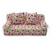 Qiyun Furniture For Barbie Lovely Miniature Furniture Flower Print Sofa Couch With 2 Cushions For Barbie