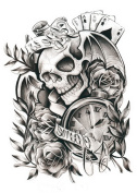 Zantec Special Fake Tätowierungs Sleeve Skullr Tattoo Sticker for Cos Play, Parties or Halloween LC2833