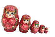 5pcs Birthday gift toys wooden crafts small belly girl Russian Doll