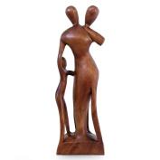 NOVICA 328420cm Family Scene Wood Sculpture, Brown
