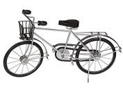 For Terrariums Decoration Wood/metall-fahrrad with Basket Silver/Black, ca. 49 x 30 cm
