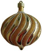 Christmas By Krebs Gilded Gold 15cm Shatterproof Onion with White Glitter Swirls (1), Yellow