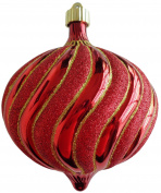 Christmas By Krebs Sonic 15cm Shatterproof Onion with Gold Glitter Swirls (1), Red