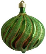 Christmas By Krebs Limeade 15cm Shatterproof Onion with Gold Glitter Swirls (1), Yellow