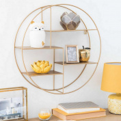 FGSGJ Vintage Wrought Iron Wood Display Stand Living Room Golden Round Wall Bookshelves Creative Racks