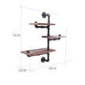 FGSGJ American Style Retro Wall Storage Rack Industrial Wind Iron Pipe Racks Bar Restaurant Wall Creative Display Stand