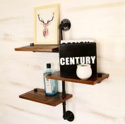 Retro Water Pipe Shelf Iron Bookshelf Living Room Bedroom Stereo Wall Solid Wood Part Wall Decorative