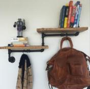 Retro Shelf Plumbing Rack Kitchen Bracket Iron Pipe Plank LOFT Wall Decoration 90*20*40cm