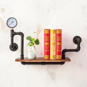 Retro wall racks, iron water pipe bookshelves, living room wall decoration rack