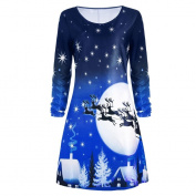 SMILEQ Women Christmas Print Dress Long Sleeve Ladies Evening Party Knee Skirt Xmas Gift