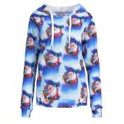 Women Christmas Blouse , Womens 3D Digital Printed Christmas Pullover Sweatshirts Long Sleeve Shirt