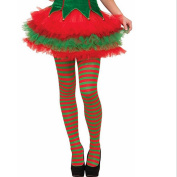 Bovake Elf Tights Striped Red Green Christmas Fancy Dress Costume Knee Stockings