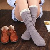 xinyiwei Girl's Lace Cotton Socks Trimmed Leg Warmers Long Knee High Plain Stretch Socks - Grey