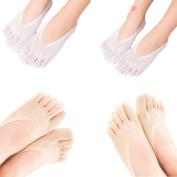 Women's Low Cut Thin Five Fingers Ankle Socks 4-Pack, #A 3