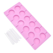 YNuth 12-Capacity Round Silicone Lollipop Mould with Sticks for Party Candy Making DIY