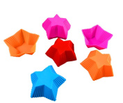 Drawihi 5 Silicone Cake Cup Baking Tool Five Pointed Star Shape Colour 7 cm Muffin Cup Jelly Mould