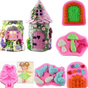 ECOSWAY 5Pc 3D Fairy House Silicone Lace Fondant Moulds, 3D DIY Cake Moulds Sweet Candy Chocolate Making Mould Cake Clay Mould Fondant Cake Sugarcraft Decorating Supplies Fondant Cake Baking Mould RANDOM