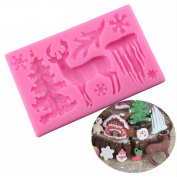 VAK Christmas Deer Silicone Mould Icicle Snowflake Chocolate Candy Moulds Fondant Cake Decorating Tools Kitchen Baking Moulds, Bakeware Mat Cake Border Decor Mould