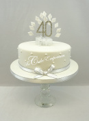 CAKE DECORATION DIAMOND 40th BIRTHDAY DIAMANTE CAKE TOPPER WITH MATCHING RIBBON