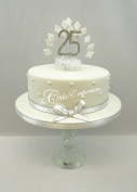 CAKE DECORATION DIAMOND 25th BIRTHDAY DIAMANTE CAKE TOPPER WITH MATCHING RIBBON