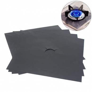 OUNONA Gas Hob Covers, Non Stick Stove Burner Covers, Universal Heavy Duty Oven Liner Gas Hob Protector Sheets 4 PCS (Black)