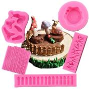 ECOSWAY 5Pcs Snail Mushroom Silicone Lace Fondant Moulds, 3D DIY Cake Moulds Sweet Candy Chocolate Making Mould Chocolate Clay Mould Fondant Cake Sugarcraft Decorating Supplies Fondant Cake Baking Mould