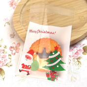 Cookie Bag, 100 Pcs Clear Self-Adhesive Christmas Snowflake Plastic Cello Sweets Candy Biscuits Wrapping Bag Papers for Party Gift