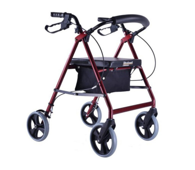 HJHY® walking aids, Walker The elderly help traffic Belt with seat Collapsible Scooter Walker Old shopping cart Aluminium alloy Handle lock wheel and brake Red with cloth bag Big wheel