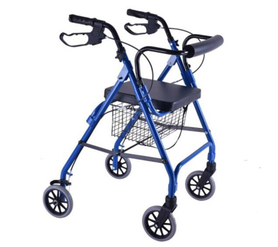 HJHY® walking aids, Walker The elderly help traffic Belt with seat Collapsible Scooter Walker Old shopping cart Aluminium alloy Handle lock wheel and brake blue Ferry
