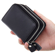 YOMYM Leather Purse Card Wallet Both Men and Women Apply Credit Card Wallet with 2 Metal Zipper 10 Card Slots