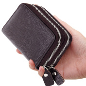 YOMYM Leather Purse Card Wallet Both Men and Women Apply Credit Card Wallet with 2 Metal Zipper 10 Card Slots (Dark Brown)