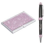 Soleebee High-end Bling Rhinestones Stainless Steel Name Card Holder Credit Card Case with Stainless Steel Ballpoint Pen - Light Pink