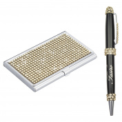 Soleebee High-end Bling Rhinestones Stainless Steel Name Card Holder Credit Card Case with Stainless Steel Ballpoint Pen - Champagne