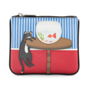 Y by Yoshi Cat and Fish Zip Top Leather Purse