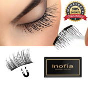 Inofia Dual Magnetic Eyelashes- Half Cover Reusable Magnet Fake False Eyelashes 1.5cm Ultra Thin 0.2mm for Natural Look NO GLUE Fabric Eyelashes Extension with Free Eyebrow Clip