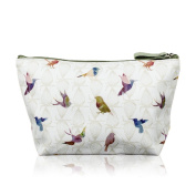TaylorHe Make-up Bag Cosmetic Case Toiletry Bag Printed PVC zipped top Birds on Green