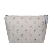 TaylorHe Make-up Bag Cosmetic Case Toiletry Bag Printed PVC zipped top Flamingo on Grey