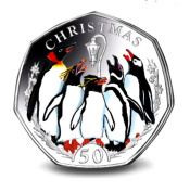 Falklands Christmas Penguins 50p Coin - 2017 Coloured Cupro Nickel Diamond Finish in a card