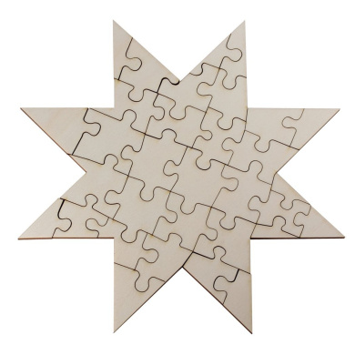 Blank Wooden Puzzle in Star Shape DIY Paint and Empty Star Made From Untreated Wood 32 Piece Jigsaw Puzzle – 24 x 24 cm