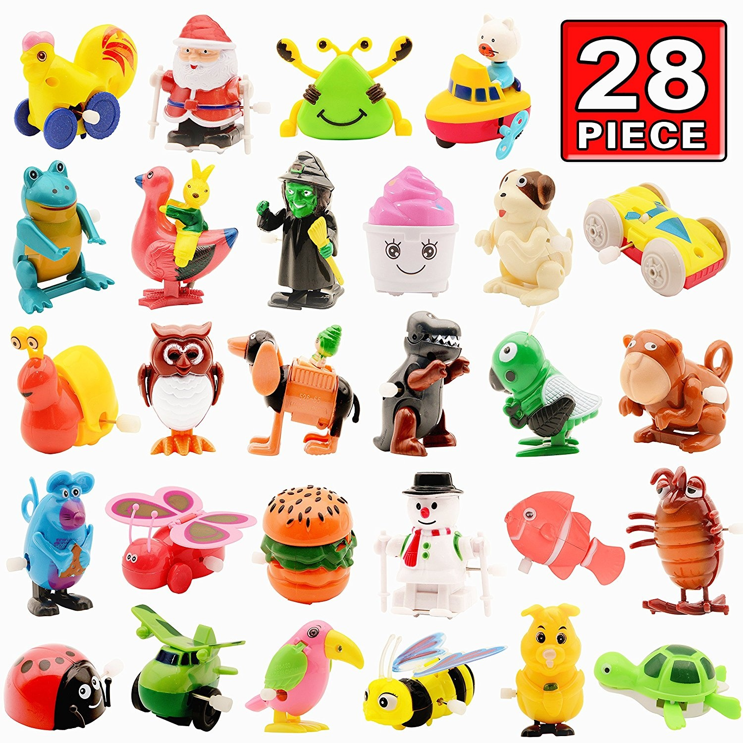 Wind Up Toy28 Pack Assorted Clockwork Toy Setoriginal Colour Animal Party Favours Great Gift For Boys Girls Kids Toddlers By Original Color