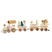 Rcool Funny Wooden Christmas Mini Train Ornament Gift Xmas Small Car Festival Decoration Prop Child Kid Toy Gift