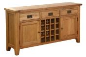 Hollyberry Home 3 Drawer 2 Door Wine Table, Wood, Oak, 40 x 150 x 80 cm