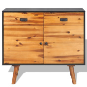 Festnight 2 Doors Sideboard with 2 Drawers Solid Acacia Wood for Living Room 90 x 33.5 x 83 cm