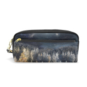 COOSUN Xmas Landscape Portable PU Leather Pencil Case School Pen Bags stationery Pouch Case Large Capacity Makeup Cosmetic Bag
