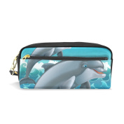 COOSUN Cartoon Jumping Dolphins Portable PU Leather Pencil Case School Pen Bags stationery Pouch Case Large Capacity Makeup Cosmetic Bag