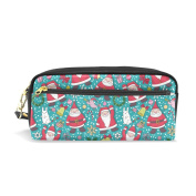 COOSUN Christmas Santa Claus Pattern Portable PU Leather Pencil Case School Pen Bags stationery Pouch Case Large Capacity Makeup Cosmetic Bag
